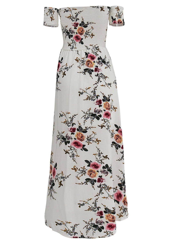dd7db9956ef Sanifer Women Floral Print Off Shoulder Slit Summer Beach Maxi Dress ...