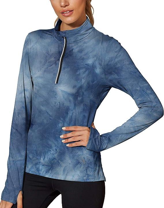 Westkun Damen 1//2 Rei/ßverschluss Laufshirt Langarm Sportshirt Shnelltrocknendes Funktionsshirt Workout Gym Yoga Fitness Sportoberteile Laufjacke