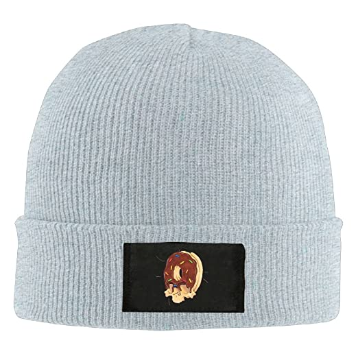 84d8abde75e NO4LRM Men Women Doughnut Chocolate Skull Warm Stretchy Solid Daily Skull  Cap Knit Wool Beanie Hat Outdoor Winter at Amazon Men s Clothing store