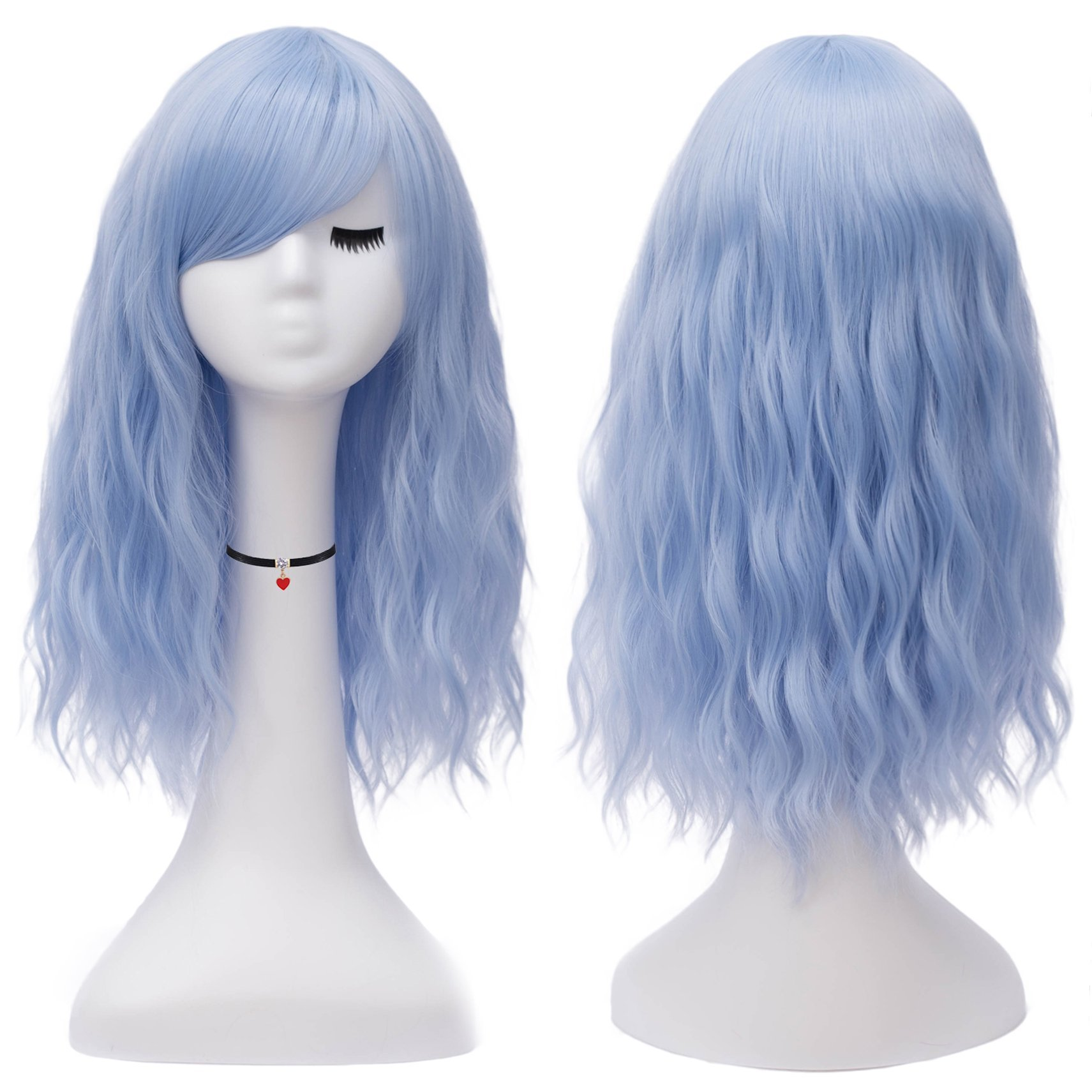 Mildiso Short Blue Hair Wigs for Women Full Curly Cosplay Wigs with Bangs Heat Resistant Synthetic Wigs (Light Blue) M050BL