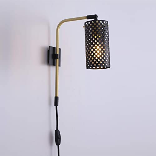 Gemma Satin Brass Plug-in Wall Lamp