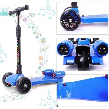 Cool and Fun Patinete Scooter para niños-Diseño Plegable con 3 Ruedas- Música y Vapor-Regalo Bonito (Azul)