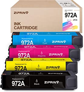 ZIPRINT Remanufactured Ink Cartridge Replacement for HP 972A 972X 972 for HP PageWide Pro 577dw 477dw 452dn 452dw 477dn 552dw 577z Printer (1 Black, 1 Cyan, 1 Magenta, 1 Yellow, 4-Pack)