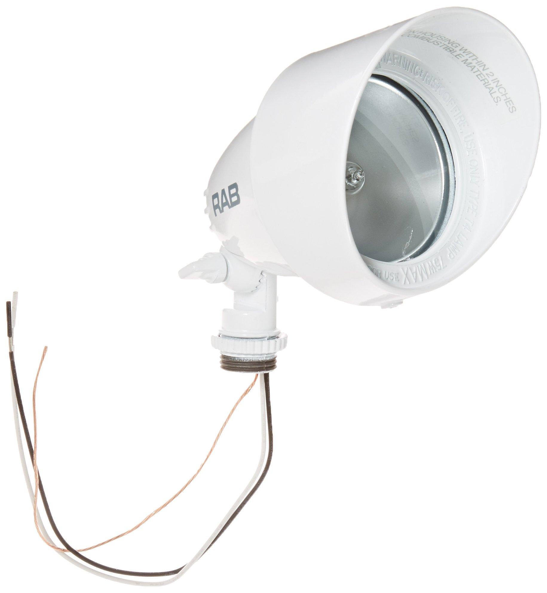 RAB Lighting QB1W Quartz Bullet Floodlight, Aluminum, 75W Power, 1500 Lumens, 127V, White