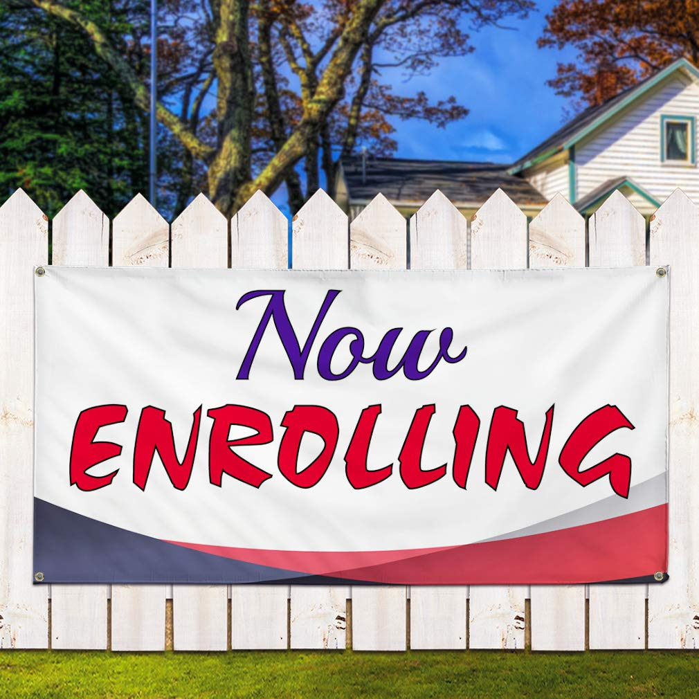 One Banner 8 Grommets Multiple Sizes Available 44inx110in Vinyl Banner Sign Now Enrolling #1 Education Outdoor Marketing Advertising White