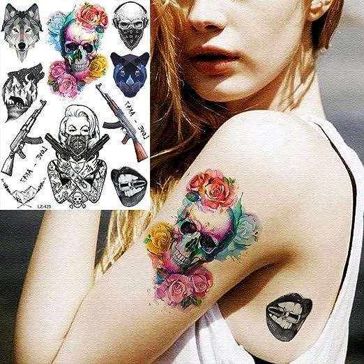 tzxdbh 2 Unids Muerte Cráneo Gangsta Ak47 Tatuajes Temporales para ...