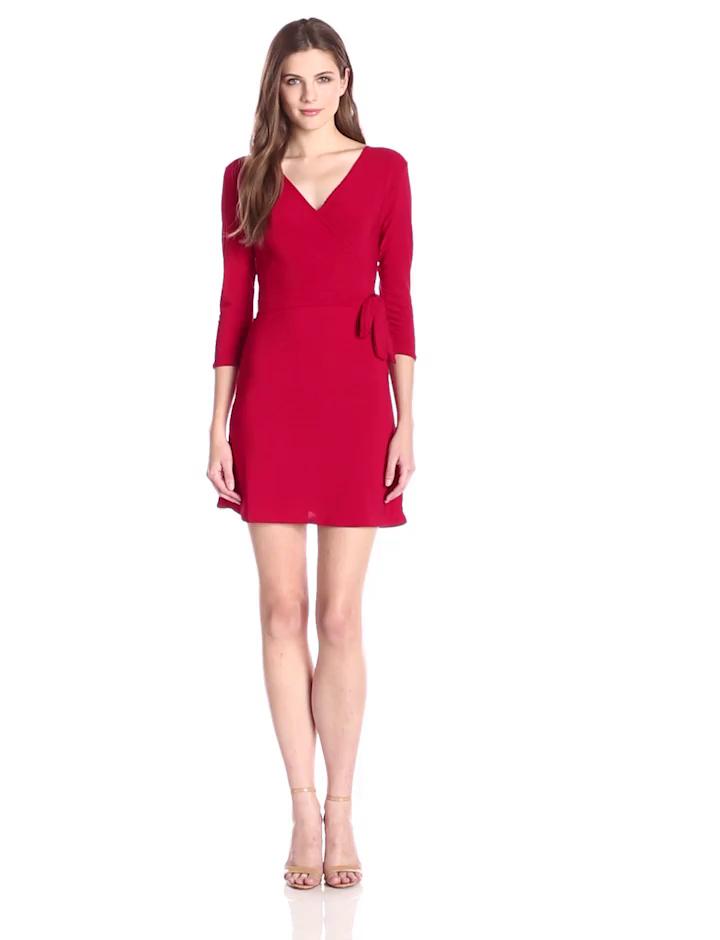 Star Vixen Women's 3/4 Sleeve Faux Wrap Dress, Red, Medium