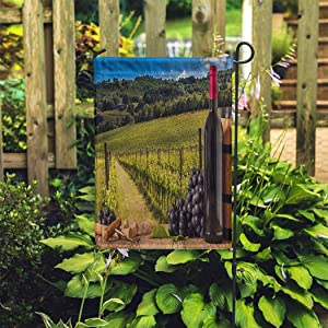 EATRAY Autumn Garden Flag Red Wine Bottles Grapes Wodden Vertical Double Sided Decorative Indoor Outdoor Flags for Home Garden Yard Outside Decor 12 x 18 Inch