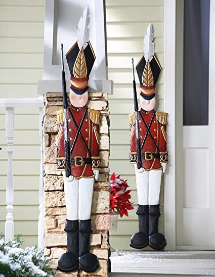 knlstore set of 2 christmas holiday metal toy soldiers nutcracker outdoor mounted wall hanging decoration