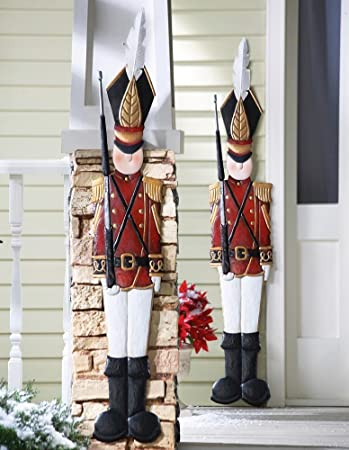 amazoncom knlstore set of 2 christmas holiday metal toy soldiers nutcracker outdoor mounted wall hanging decoration home kitchen