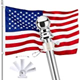 6FT Flag Pole Kit, 304 Stainless Steel Flagpole with Rotating Rings, Metal Base, American 3x5FT Nylon Flag for Outdoor Backya