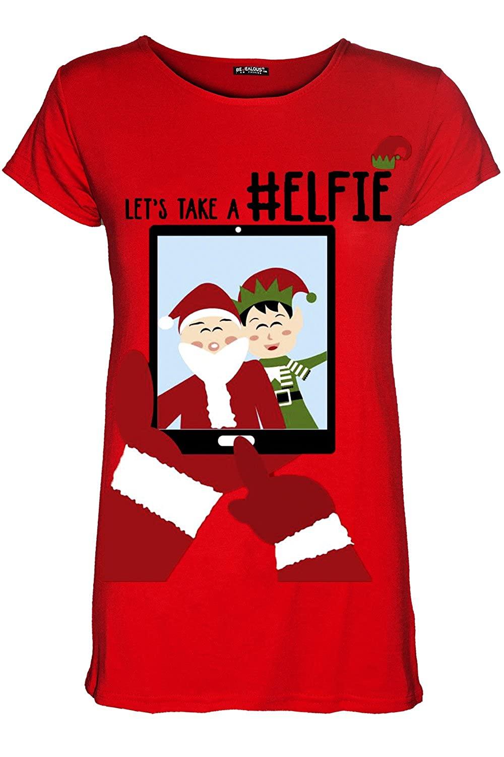 Be Jealous Womens Merry Christmas Reindeer Gingerbread Candy Stick Ladies Xmas T Shirt Top UK Plus Size 8-22