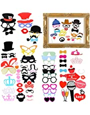 Gudotra Photobooth Accesorios para Bigotes Labios Corbatas Gafas Sombreros para Partido