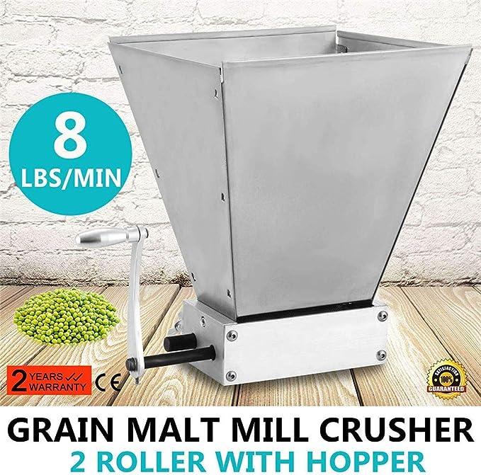 S SMAUTOP Molino manual de malta Molinillo de grano inoxidable Con 2 rodillos ajustables Trituradora de molino de cebada, fabricante de harina para elaboración casera(manual): Amazon.es: Hogar