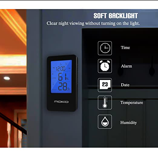 MoKo Termómetro higrómetro digital, multifuncional 2-en-1 medidor de temperatura interior inalámbrico Sensor de humedad del monitor Pantalla LCD electrónica ...