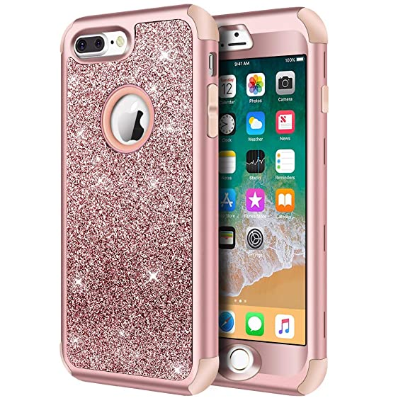 detailing c735e 03b03 iPhone 8 Plus Case, iPhone 7 Plus Case, Hython Heavy Duty Defender  Protective Case Bling Glitter Sparkle Hard Shell Armor Hybrid Shockproof  Rubber ...