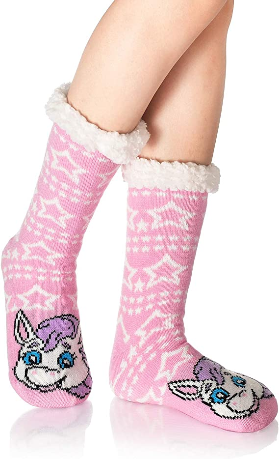 Ladies Cosy Fluffy Socks Non Slip Grippers Winter Warm Soft Unicorn Animals 4-8