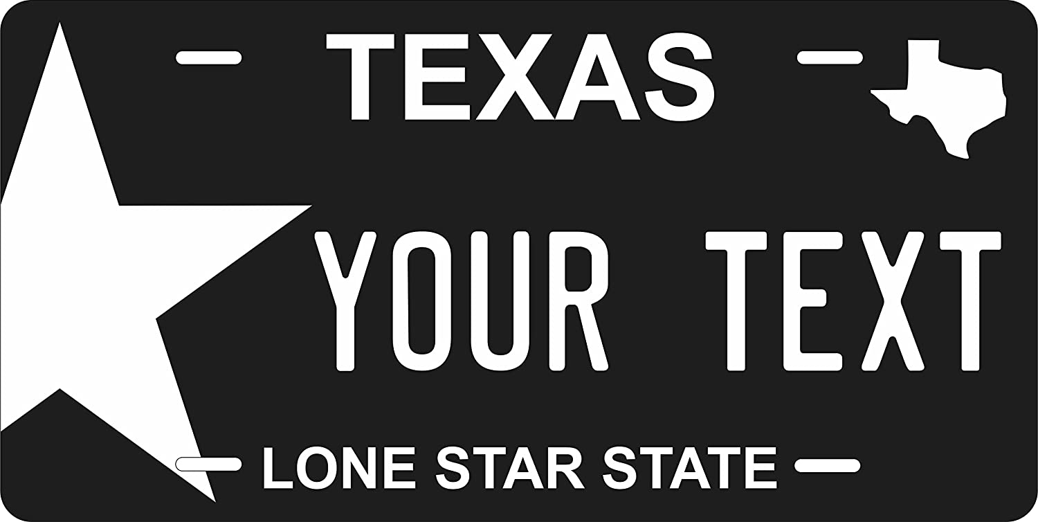 Texas Black Personalized Custom Novelty Tag Vehicle Car Auto Motorcycle Moped Bike Bicycle License Plate