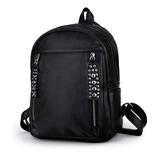 Amazon.com  Artwell Women Backpack Purse PU Leather Rivet Zipper Rucksack  Lightweight School Shoulder Bag for Girls (Black)  Shoes 5235633ed7534