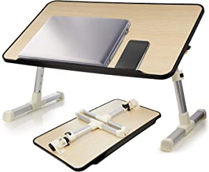 Laptop Bed Table, WHITE TIGER Adjustable Portable Lap Desk with Foldable Legs, Breakfast Tray for Eating, Notebook Computer Stand for Reading Writing on Bed Couch Sofa Floor