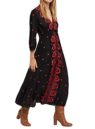 1f92cf3033e2 R.Vivimos Womens Boho Floral Embroidered Casual Drawstring Tie Cotton Long  Dresses (Small,