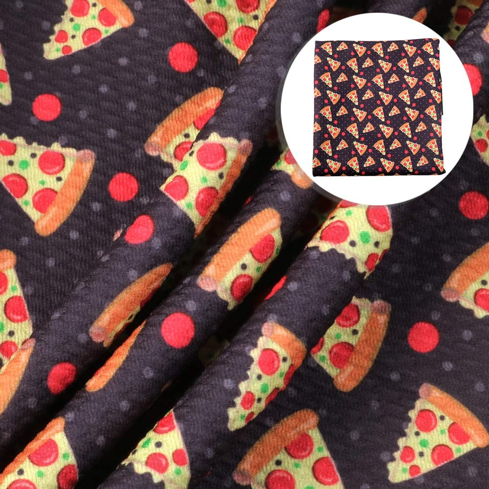 Food Pizza Pattern Bullet Printed Liverpool Textured Fabric 4 Way Stretch Spandex Knitting Fabric for Sewing DIY Crafts Decorations (Food)