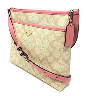 2a19c09000a4 Image Unavailable. Image not available for. Color  Coach Signature File Bag  Crossbody Handbag Light Khaki ...