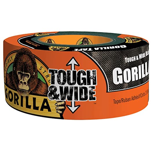 """Gorilla Glue Tough And Wide Black Duct Tape Strong Adhesive 3/"""" Wide 73mm x 27m"""