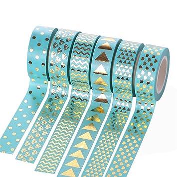 cosanter washi tape masking tape 6er set klebeband dekoband hellblau gold fur scrapbooking diy 15mm x