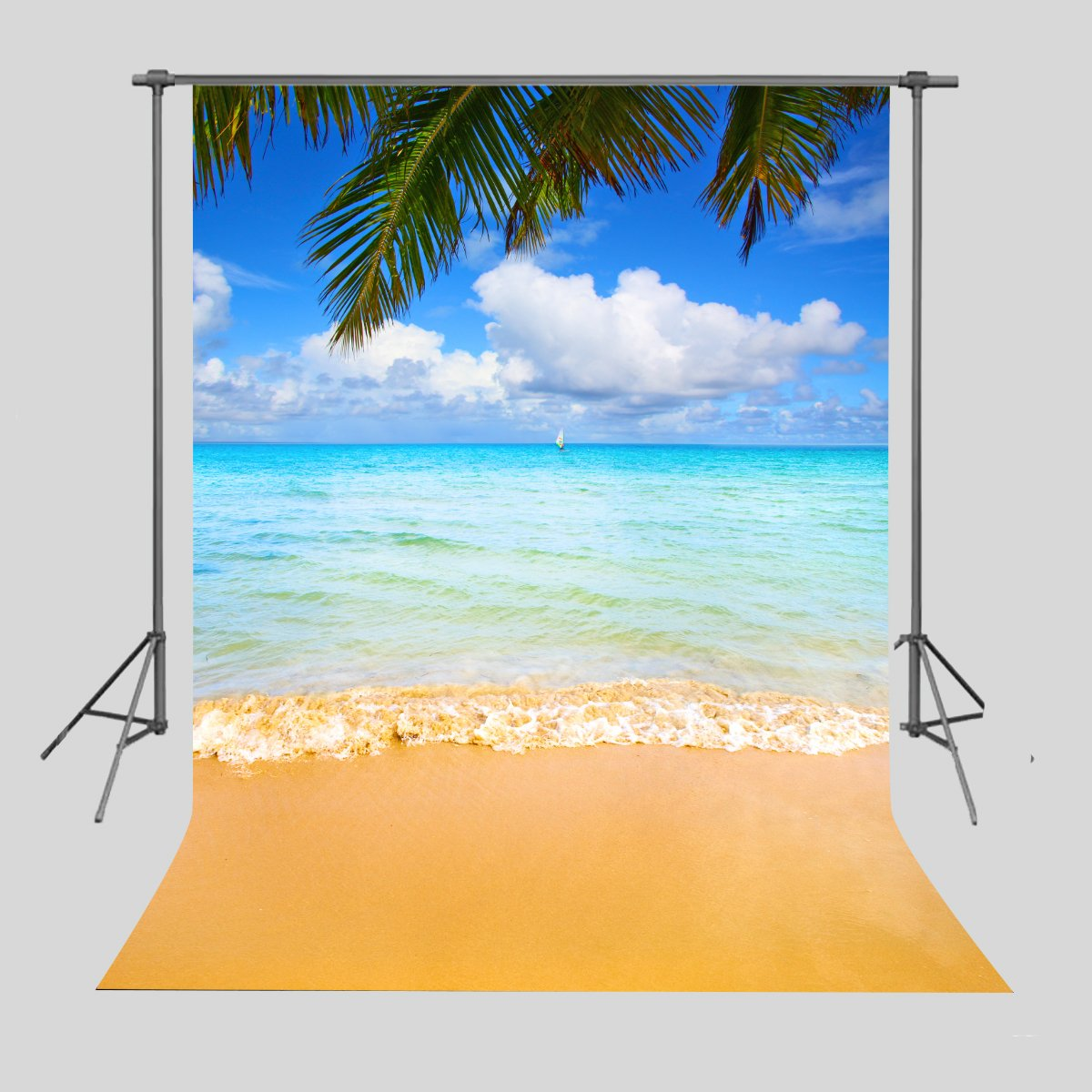 FUERMOR Background 5x7ft Blue Sky White Clouds Sea Beach Photography Backdrop Vacation Photo Props Room Mural HUIFU052 by FUERMOR