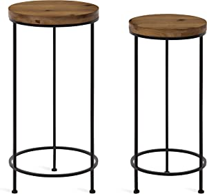 Kate and Laurel Espada Rustic Round End Table, Set of 2, Rustic Wood and Black Metal Frame, Farmhouse-Inspired Home Accent