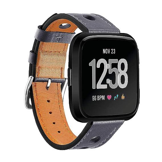para los Hombres de la Banda Fitbit Versa Reloj de Cuero Genuino Correa de Las Correas