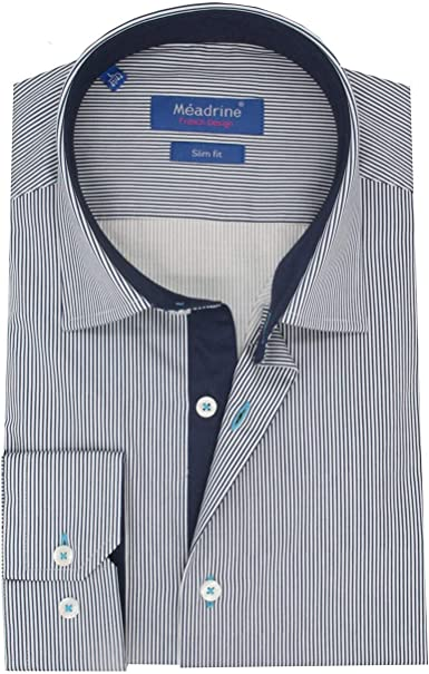 Meadrine Camisa Hombre oposición de Rayas Azul Marino Azul Marino Unidos Slim fit: Amazon.es: Ropa y accesorios