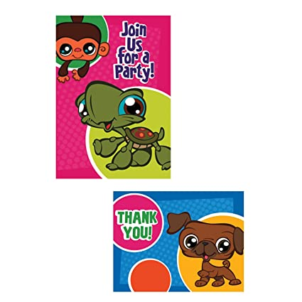 Amazon Com Littlest Pet Shop Invitations And Thank You Notes 16ct