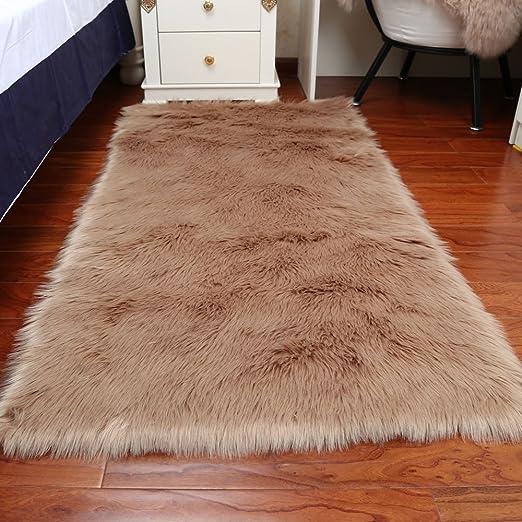 Fluffy Plain Sheepskin Rug Soft Faux Fur Shaggy Area Rugs Room Mats Thick Wool