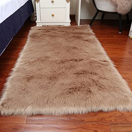 Faux Fur Sheepskin Area Rug, Baby Bedroom Rugs Fluffy Rug Home Decorative  Shaggy Rectangle Carpet