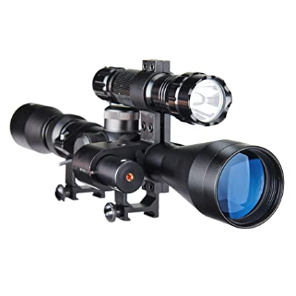 Pinty Tactical 3-9X40 Optics Sniper Hunting Rifle Scope with Red Laser Torch
