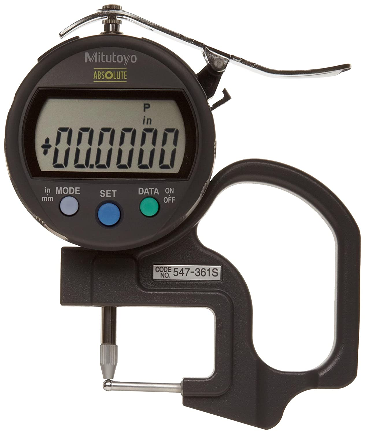Mitutoyo 547-361S Digimatic IDC Thickness Gage, Tube Thickness Anvil, 0-0.47'/0-12mm Range, 0.0005'/0.01mm Resolution, +/-0.001' Accuracy