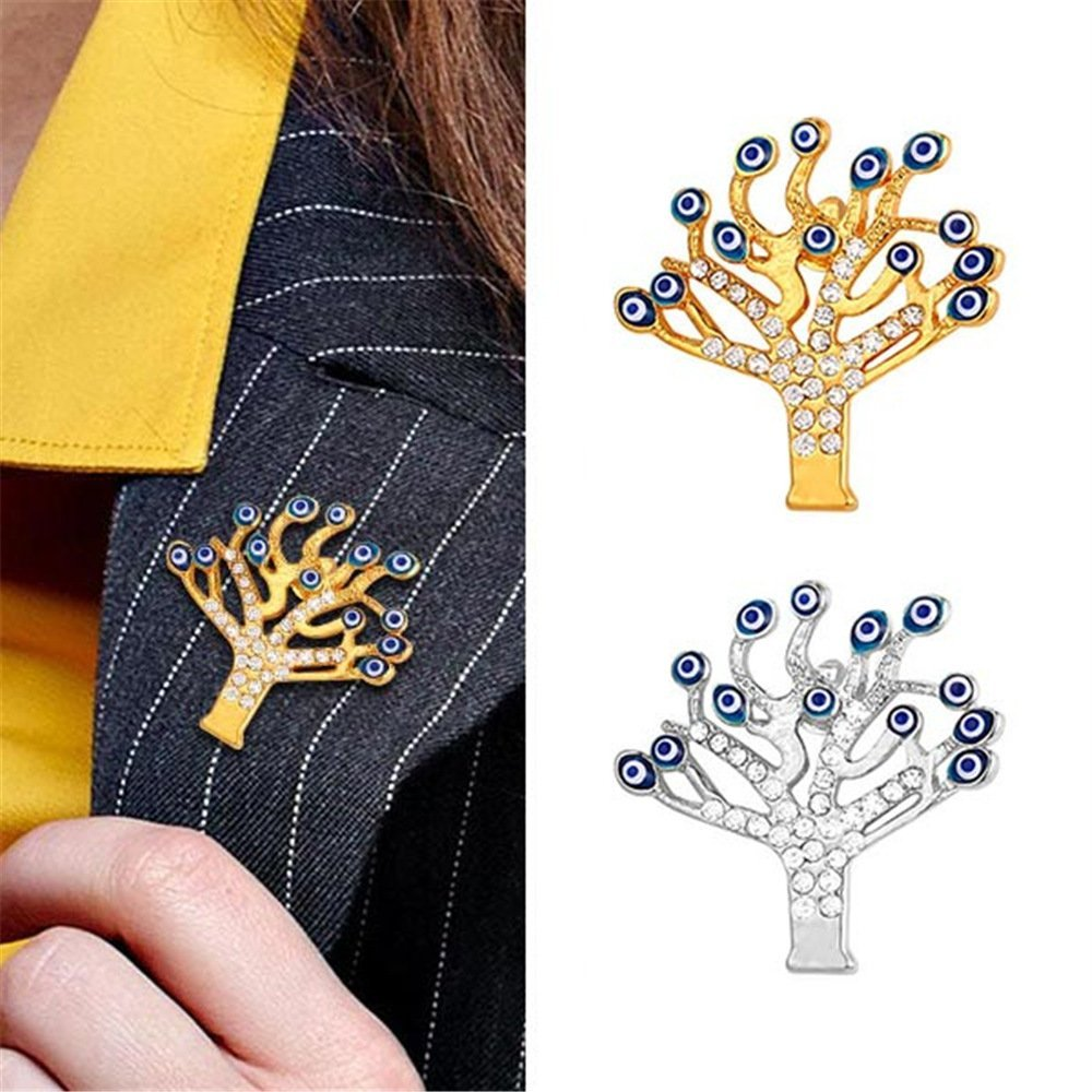 U7 Lucky Evil Eye Tree of Life Brooch 18K Gold Plated Tie Hat Bag Brooches Lapel Pin Women Men by U7 (Image #2)