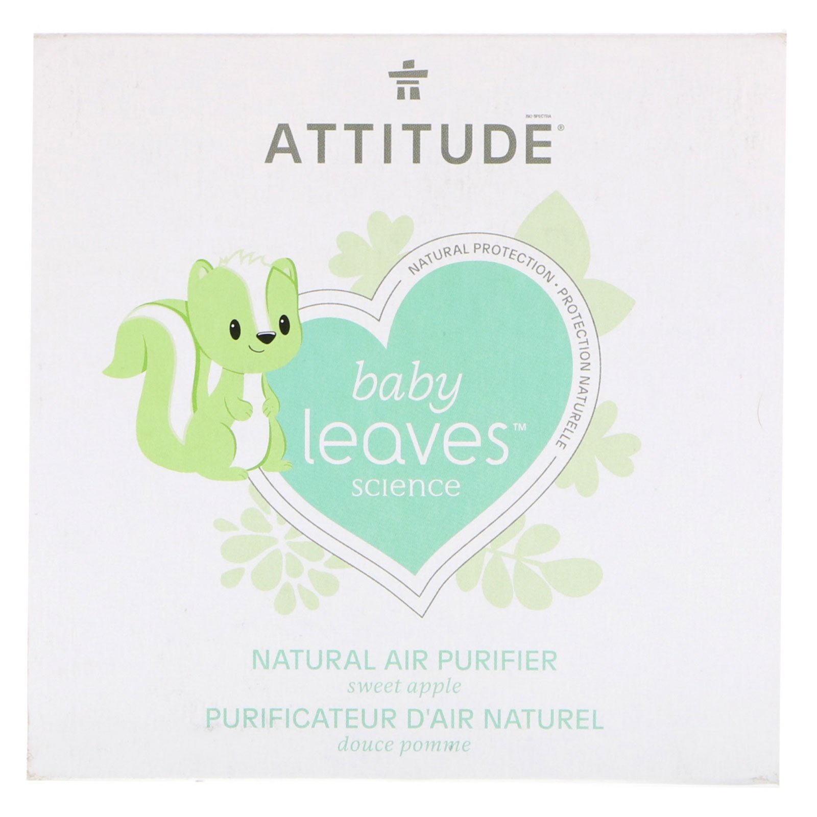 ATTITUDE Natural Air Purifier with Activated Carbon Filter | Traps Air Polluants and Contaminants, Neutralizes Stubborn Odors | Baby Leaves Science Collection | Sweet Apple (8 oz)