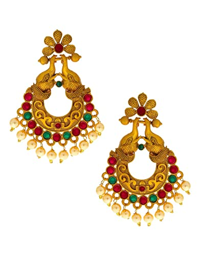 Anuradha Art Gold Finish Studded Maroon Colour Stone Traditional Earrings For Women//Girls