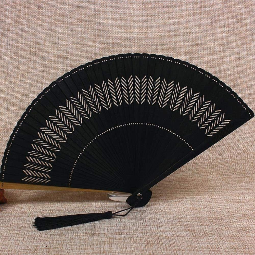 Aigial Folding Fan Chinese Style Portable Lady Hollowed Out Bamboo Retro Classical Fan Handmade Summer Small Folding Fan Mini Gift Folding Hand Fan,18.5Cm Black Wheat Flower