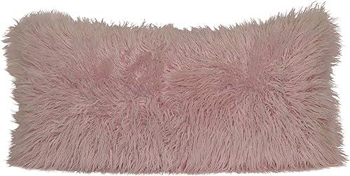 Brentwood Originals Mongolian Fur Pillow, 18×36, Soft Pink