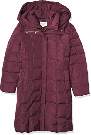 Cole Haan Women's Taffeta Down Coat with Bib Front and Dramatic Hood