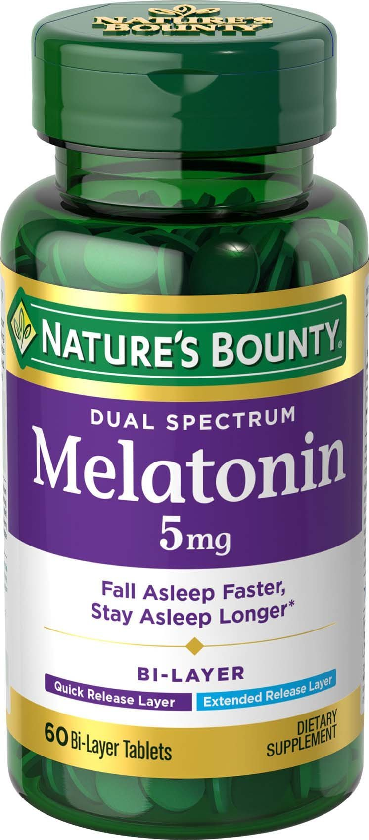 Natures Bounty Dual Spectrum Bi-Layer Melatonin 5 mg, 60 Tablets