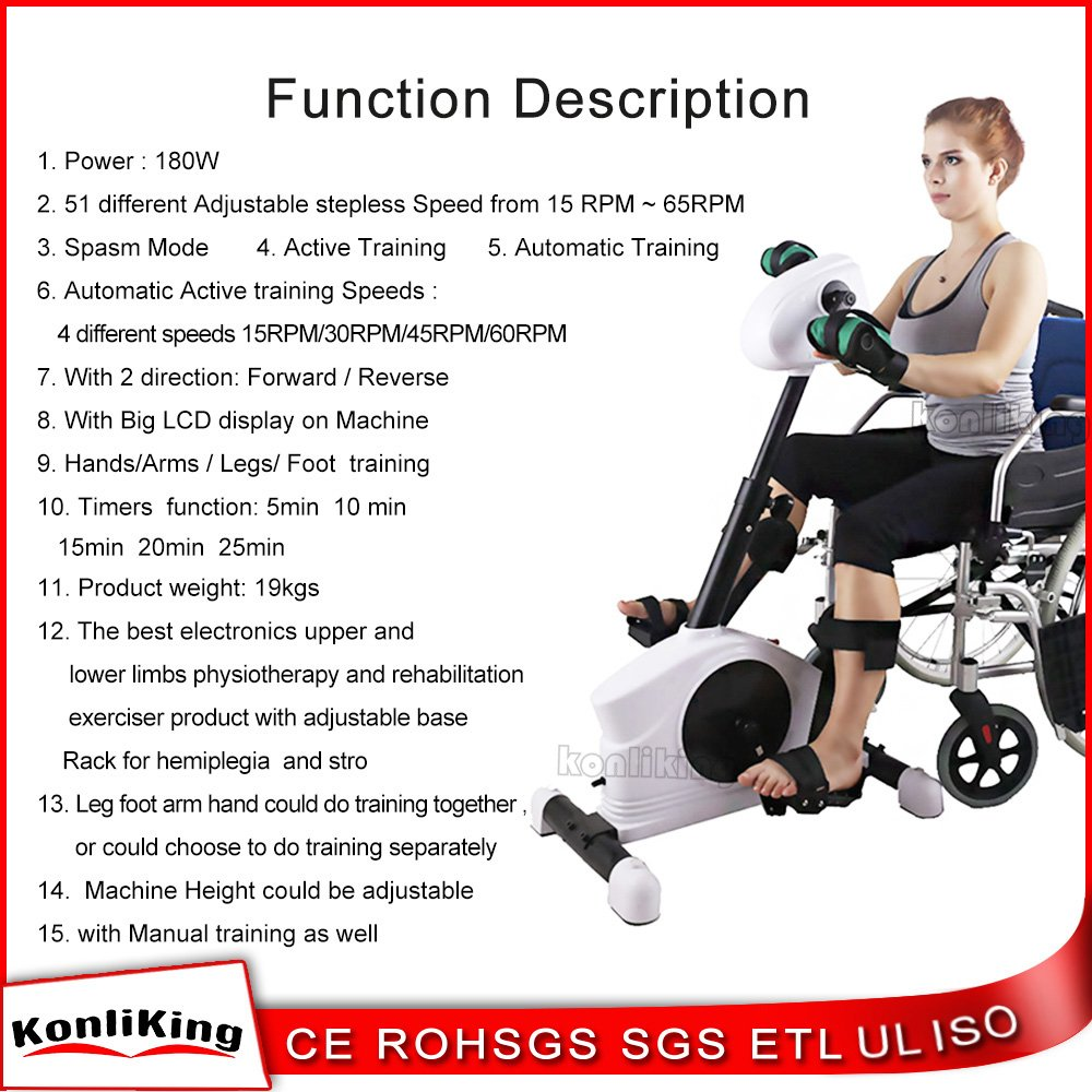 Konliking Electronic Physical Therapy Rehabilitation Bike for Senior  Recumbent Indoor Pedal Exerciser