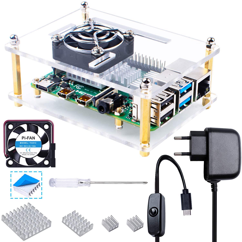 Smraza - Carcasa para Raspberry Pi 4 con 5 V 3 A USB-C alimentador, 35 mm disipador, 4 Unidades Ventilador Compatible con Raspberry Pi 4 Model B / 3B+ ...