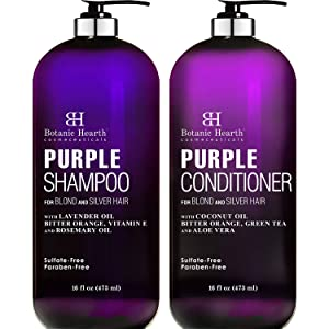 BOTANIC HEARTH Purple Shampoo and Conditioner Set - for All Shades of Blonde, Silver and Gray Hair - Enhances Highlights - Sulfate Free, Paraben Free, 16 fl oz x 2