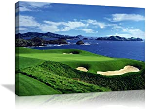 Large Wall Decor for Living Rooms Golf Course Landscape Painting Canvas Print Blue sky and The Sea Landscape Wall Artwork HD Prints For Home with Framed Stretched Ready To Hang(36''Wx24''H)