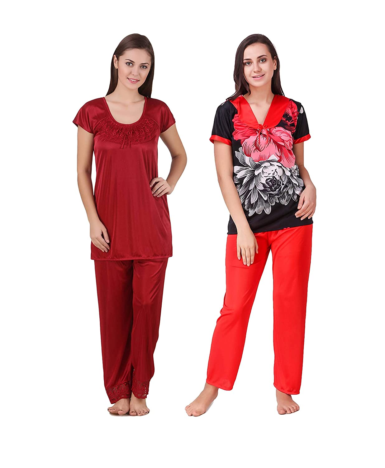 786523c4517 KEOTI Satin Night Suit Set Nighty Set - Pack of 2  Amazon.in  Clothing    Accessories